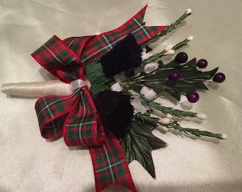Wedding flowers Scottish Corsage Thistle, Berry, Heather McGregor Tartan