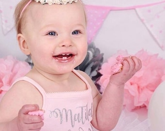 Thin-Strapped Ballerina Pink Girls Cake Smash 1st Birthday Vest/Bodysuit - Glitter - Photography Prop - Personalised