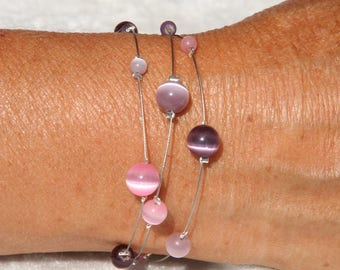 Pink, mauve and purple bracelet