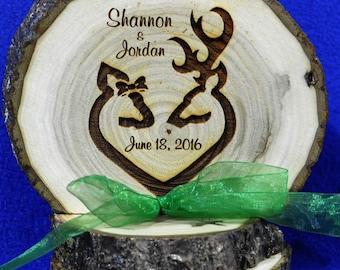 Buck and Doe Cake Top ~ Rustic Wedding ~ Barn Wedding ~ Wood Cake Top ~ Engraved Wood Cake Top ~ Custom Cake Top ~ Deer ~ Hunting Theme Cake