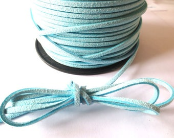 1 m x 3mm sky blue cord suede