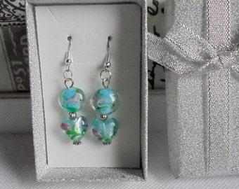 Baby blue lampwork beads earrings. Baby blue earrings. Baby blue dangling earrings. Baby blue drop earrings. Gift idea.