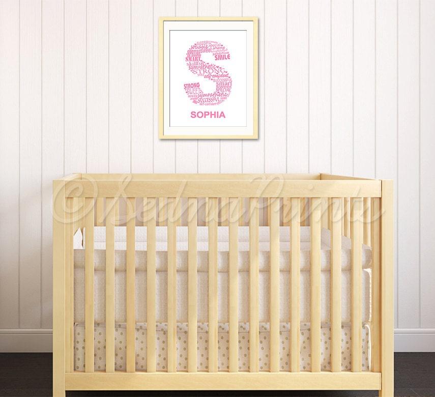 Baby girl name art print personalized baby girl initial art