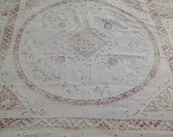 Tablecloth Richelieu French Embroidery French Linens Handmade French tablecloth Shabby Chic White Tablecloth Nuptials Tablecloth