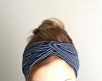 Navy blue turban, twist headband, fashion headband, stretch turband, Yoga hair accessory, Yoga headband for everyday cotton, Striped