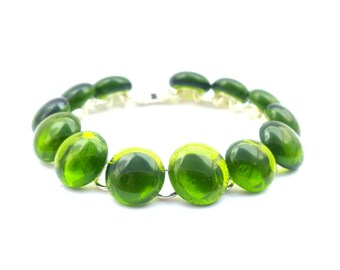 Recycled wine bottle green link bracelet/Eco-friendly upcycled glass wine bottle bracelet on silver