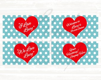 Printable Bottle Labels, Bottle Labels, Personalized, Printable Labels : I Love Lucy Theme