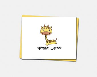 Personalized Note Cards - Giraffe Note Cards - Set of 10 Folded Note Cards - Giraffe Gifts for Kids - Custom Note Cards for Kids