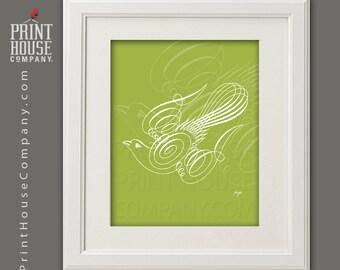 Dove Calligraphy Illustration, 8x10 archival, giclee, fine art digital print