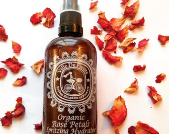 Organic Rose Petals Hydrating Spritzer - Facial Toner, Body Mist, Eco Friendly gift for her