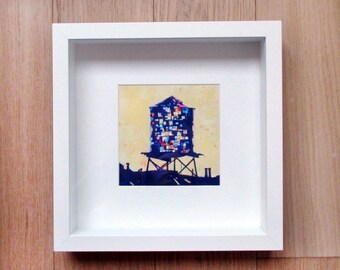 Framed Print: Brooklyn Watertower (Yellow)