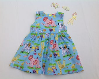 Girls animal dress, Elephant dress, Zoo print,  Baby girl dress, girls dress,  toddler dress, girls clothing, summer dress,