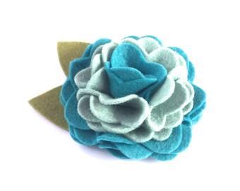 Turquoise Blue Two-Tone Felt Dog Collar Flower