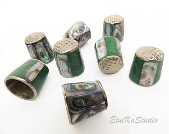 Mexican Alpaca Silver abalone Shell inlay Thimble, sewing tool, decorative thimble