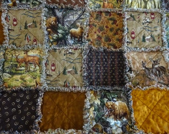 Rag Quilt, Rag Quilt Throw, Patchwork Quilt, Sofa Throw, Deer Rag Quilt, Woodland Rag Quilt, Wheelchair Blanket, Fathers Day Gift,