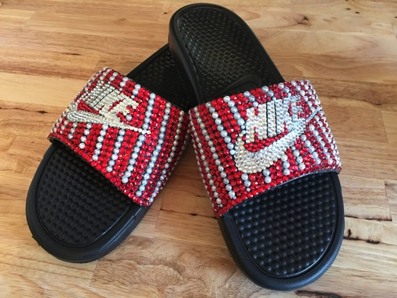 Rhinestone Nike Slides