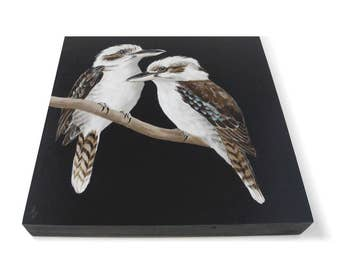 Kookaburra painting - Australia wildlife - australian birds - exotic wildlife painting - laughing kookaburra - realistic exotic animal art