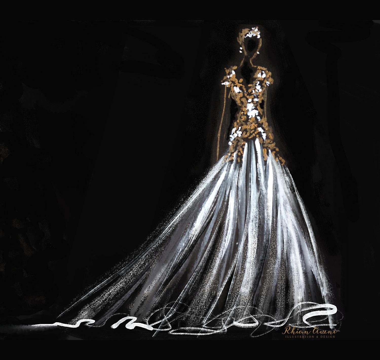 Sketches Of Wedding Gowns: Custom Wedding Dress Sketch Wedding Gown Illustration Bride