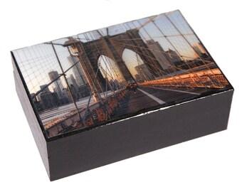 Wooden Keepsake Box, Brooklyn Bridge, Large, Memory Box, Brooklyn Art, New York City, Gifts for Him, Deborah Julian