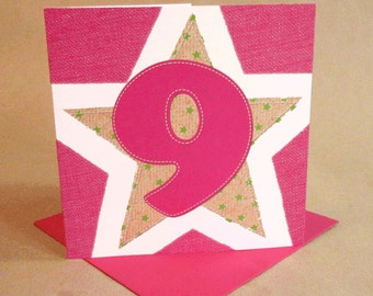 Age 9 Girl Birthday Card