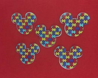 Set of 5 Mickey Autism Awareness Resin