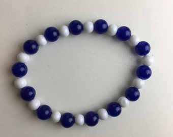 Blue Jade and glass bracelet, 7 inch bracelet, blue jade bracelet