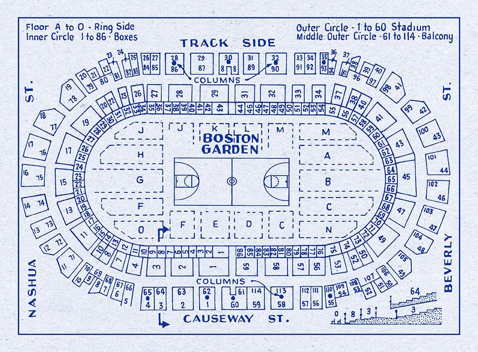 Vintage print of boston garden basketball seating chart on photo
