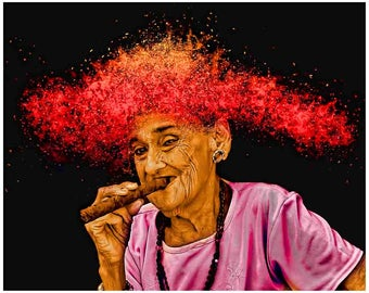 Havana Cuba, woman with cigar, Cuba photography, Cuba print art, Cuban, cigar art, Cuban cigar lady, smokeshop, smoker, cigar photography