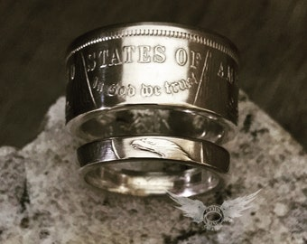 1921 Morgan Silver Dollar his & hers coin rings polished or with patina