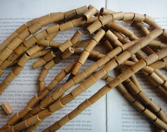 8x15mm natural wood tube beads, 15pcs.