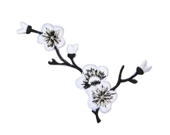 ID 6822 White Cherry Blossom Branch Patch Flowers Embroidered Iron On Applique
