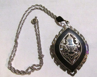 Gorgeous Vintage STERLING SILVER ss made in siam large convertible pendant brooch and NECKLACE