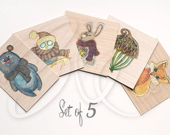 In The Forest - Set of 5 Greeting Cards - ivory textured paper, natural wood husk laser cut, printed, blank inside, with envelopes