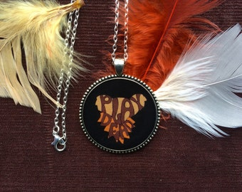 """Grateful Dead """"Play Dead"""" Hand-drawn Necklace or Keychain/ 60s 70s Pendant Hippie Festival/ Psychedelic Jewelry/ Gift"""