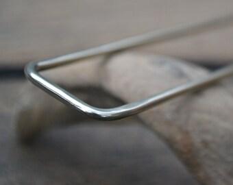 Modern Metal Hair Fork, Solid Hammered Nickel Silver