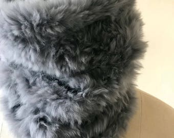 Regal fur and cashmere knit cowl scarf