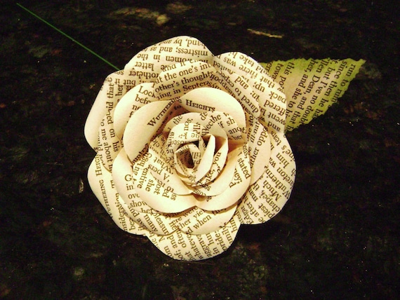 Paper rose flower wuthering heights emily bronte recycled mightylinksfo