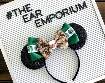 Coffee Shop Inspired Mouse Ears Headband ~ Green Satin and Sparkle Bow ~ Starbucks