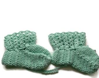 "Baby Booties Mint Green Baby Shoes Crochet Booties 4 "" Newborn Shoes OOAK Booties Reborn Baby Doll"