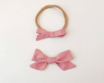 Dusty Rose Bow, Baby Headbands, Toddler Clips, Baby Girl Gift, Baby Bows, Bows, Big Bows, Newborn Headband, Baby Girl Headband, Hair Clips