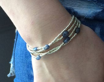 Multi Wrap Stretch Bracelet, Silver Seed Bead and Iolite Gemstone, Long Beaded Necklace
