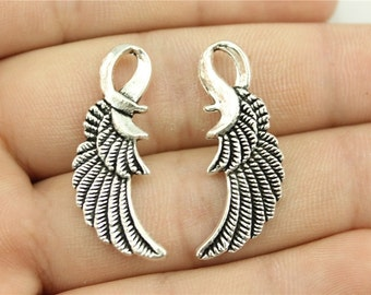 5 Wing Charms, 2 Sided, Antique Silver Tone (1F-134)
