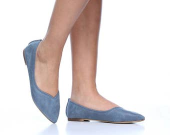 Blue Michal Pointed Toe Leather Flats, Handmade Leather Flats, Women's Leather Flat Shoes, Women Slip On Flats