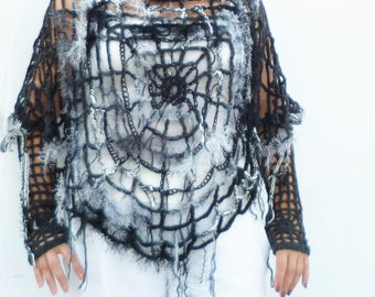 Halloween Outfit Spider Web Poncho Spiderweb Clothing OOAK Black Poncho u0026 Mittens Halloween Costume Women Size XS - M Charlotteu0027s Web & Gray Poncho Spider Web Halloween Costume Women Gothic