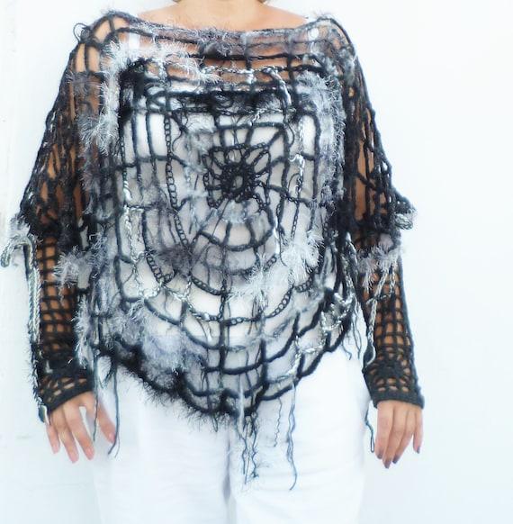 Halloween Outfit Spider Web Häkeln Poncho Cape Spinnennetz