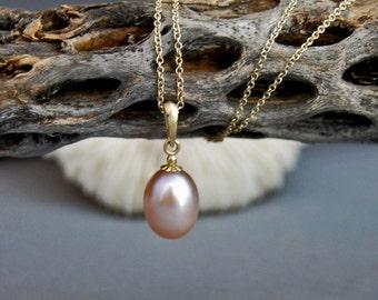 Avani - Freshwater Pearl Pendant, mauve pearl pendant, pearl necklace, pendant necklace, gold, June birthday, pearl jewelry, gift, wedding