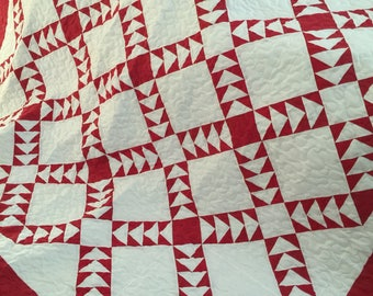 Quilt Red and White Flying Geese More White Queen