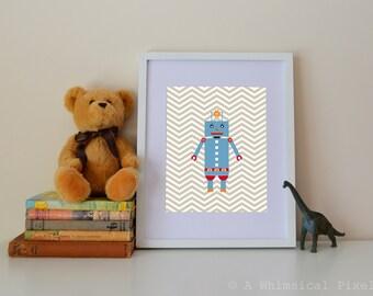 Robot Chevron Children's Wall Art Print | 8x10 inches | UNFRAMED