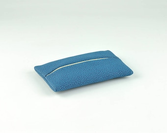 Pocket Tissue Holder with Dot Pattern, PU Leather Travel Tissue Holder for Purse, Portable Tissue Cover, Tissue Pouch, Blue