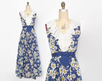 Vintage 70s FLORAL MAXI / 1970s Ruffled Daisies High Waist Sun Dress XS - S